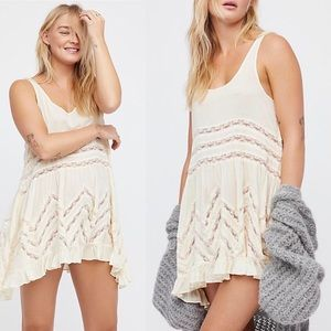 Free People Volie and Lace Trapeze Slip NEW - XS